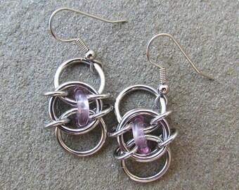 Chain Maille Earrings, Purple Earrings, Light Amethyst Glass Earrings, Purple Glass Jewelry