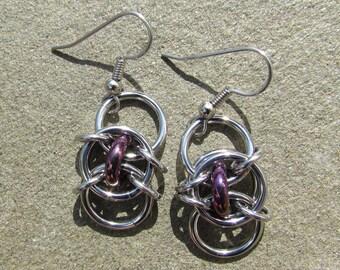Chain Maille Earrings, Purple Earring, Glass Jewelry, Iris Purple Glass Earrings