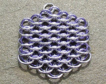 Chain Maille Pendant, Dragonscale Pendant, Purple Necklace, Lavender and Bright Aluminum