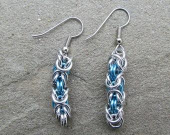 Chain Maille Earrings, Sky Blue Earrings, Byzantine Earrings, Blue Jewelry, Jump Ring Earrings