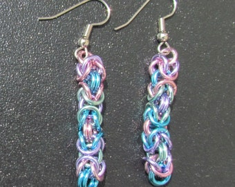 Chain Maille Earrings, Byzantine Earrings, Pastel Jewelry, Multicolor Earrings, Pink Purple Blue Green