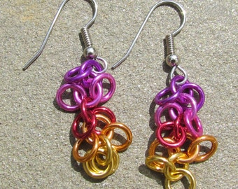 Chain Maille Earrings, Shaggy Loops Earrings, Multicolor Earrings, Jump Ring Jewelry