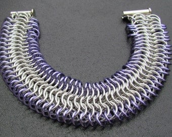 Chain Maille Bracelet, Cuff Bracelet,  Lavender Bracelet, Purple Jewelry, Jump Ring Bracelet