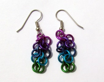 Chain Maille Earrings, Multicolor Earrings, Shaggy Loops Earrings, Ombre Jewelry