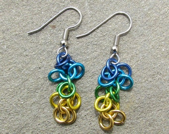 Chain Maille Earrings, Multicolor Earrings, Shaggy Loops Earrings, Multicolor Jewelry, Jump Ring Earrings