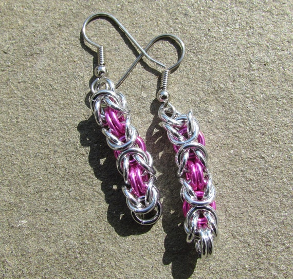 Chain Maille Earrings, Pink Earrings, Handmade Jewelry, Byzantine Earrings