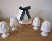 Hand Knitted Cable Knit Tea Cosy & 4 Cable Knit Egg Cosies