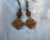 Brown Rose Earrings with crystals on Antique Brass Lead and Nickle Free Free Shipping