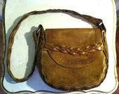 60s Tooled, Braided Handmade Leather Purse