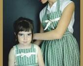 Rural green stripes apron - women