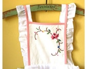 White and Pink Goblen Apron - Dress Version For Girl