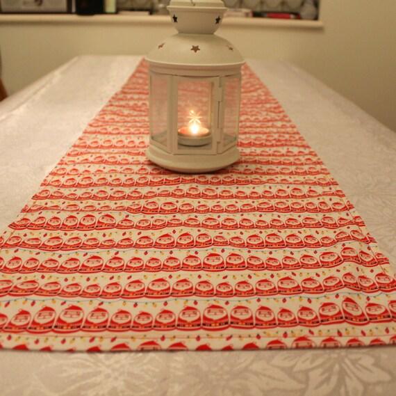 Table runner, Christmas, Santa, red and white