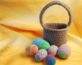 Easter basket with eggs crochet PDF pattern