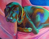 Custom Pet Portrait - Pet Portrait - Original Acrylic Painting 9 x 12 - By Corina St. Martin