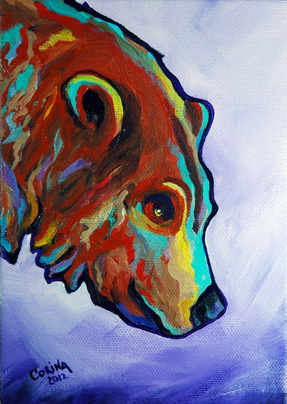 Grizzly Bear Wildlife Art Original Acrylic Painting On