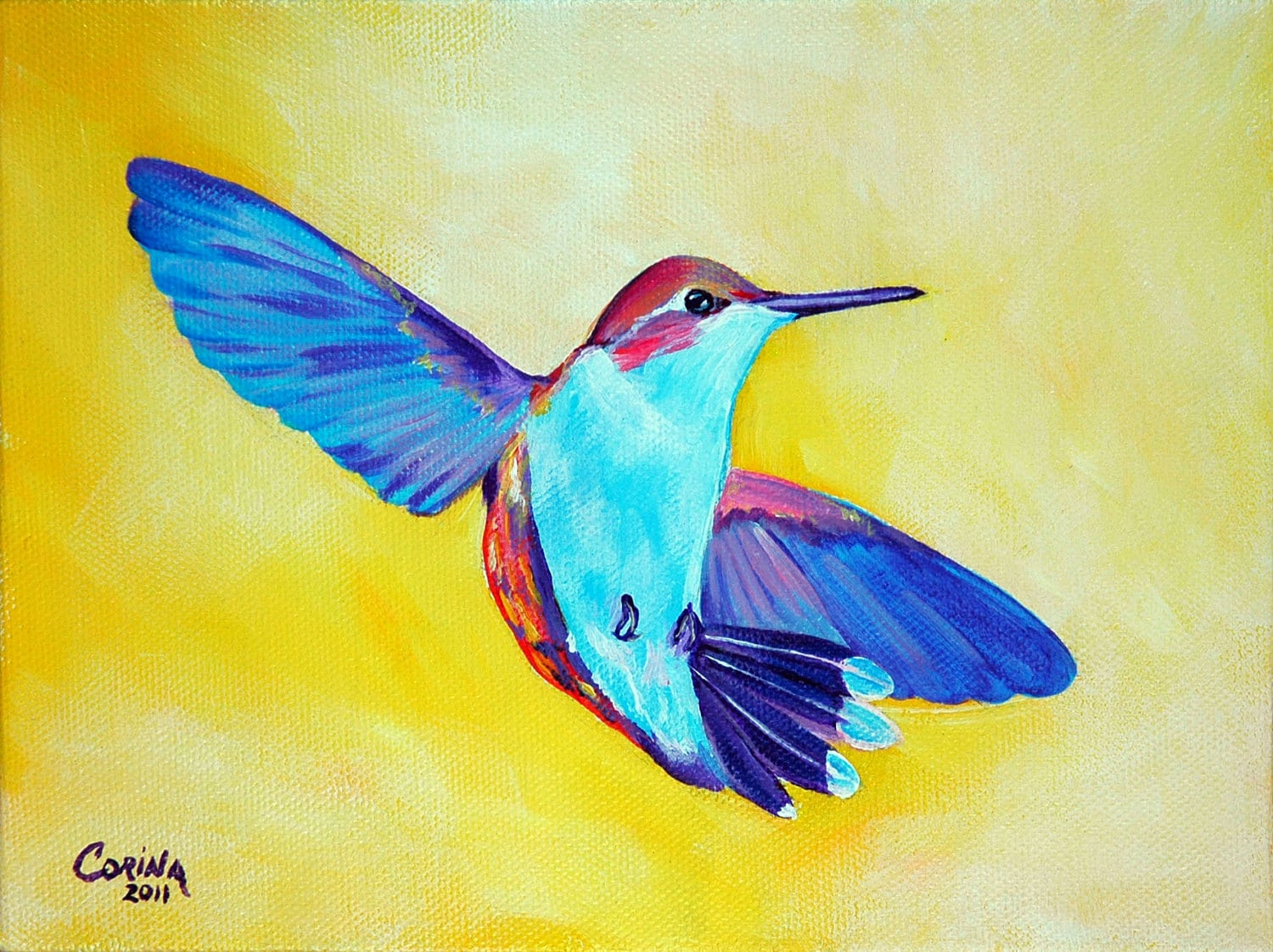 Hummingbird Wildlife Art Original Acrylic Painting on Canvas