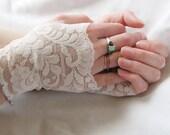 Custom for Reyne: lace fingerless gloves, Ivory,  Bridal Gloves, Wedding ,Mommy and Me set