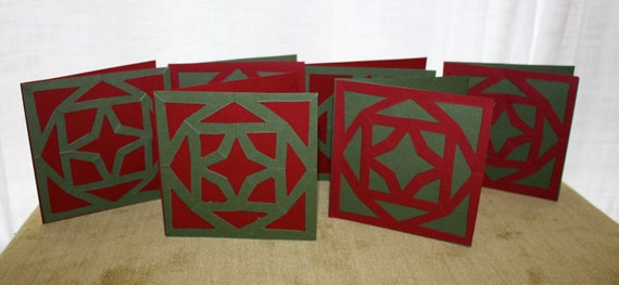 Handmade Paper Cut Christmas Cards with Envelopes Set of Six