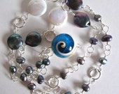 Freshwater Pearl Necklace Snail Shell Pendant Silver Wire Wrapped Beads