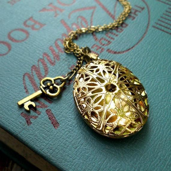 Locket Necklace with key charm