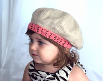 Linen beret cap hat for the girl with lacy edge