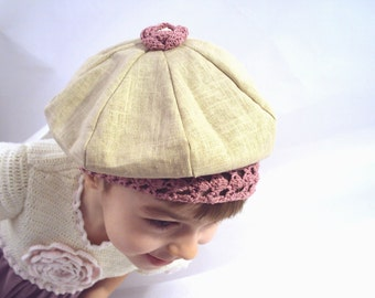 crocheted linen beret with lacy edge