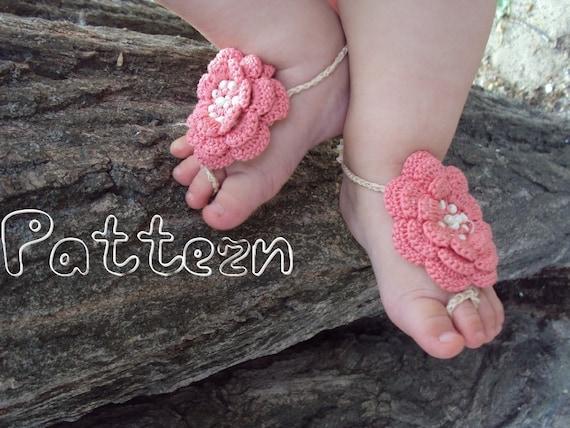 Free Crochet Pattern Baby Boy Vest : PDF pattern Baby Barefoot Sandals / Crochet baby sandals