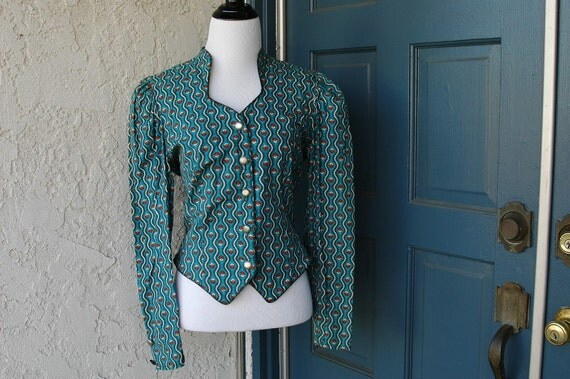 Vintage Long Sleeve Blouse with Novelty Print and Corset Back
