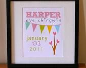 Personalised Baby Girl Prints 8 x 10