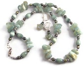 Gemstone necklace set, chunky rough green aventurine, freshwater pearl, 22 inch