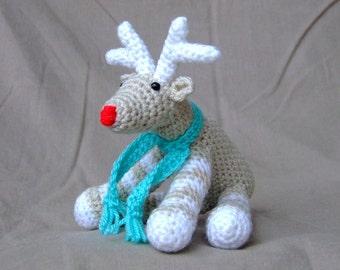 Crochet Reindeer Handmade Red Nose Green Scarf Wool Soft Toy Gift