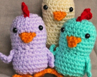 Crochet Set of 3 Chicks Lilac / Green / Yellow Handmade Wool Soft Toy Gift