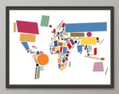 Abstract Map of the World Map, Art Print (803)