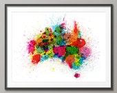 Australia Paint Splashes Map, Art Print (770)