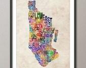 Manhattan New York Typographic Map, Art Print (887)
