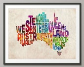 Typography Text Map of Australia, Art Print (893)