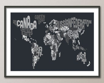 Typographic Text Map of the World Map, Art Print (890)