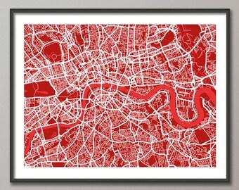 London Map, Street Map London England, Art Print - custom colours available (836)