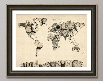 Map of the World Map from Old Clocks, Art Print (902)