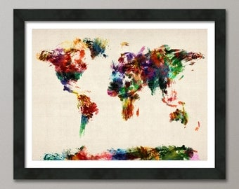 Map of the World Map Abstract Painting, Art Print (904)