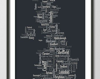 Great Britain UK City Typography Text Map, Art Print (822)