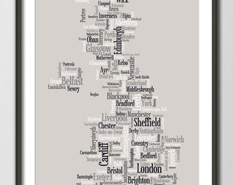 Great Britain UK City Typographic Text Map, Art Print (823)