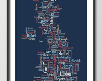 Great Britain UK City Typographic Text Map, Art Print (818)