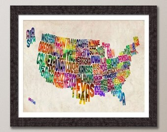 Typographic United States Map, Text Art Print (888)