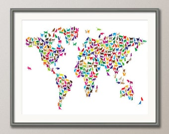 Cats Map of the World Map, Art Print (181)