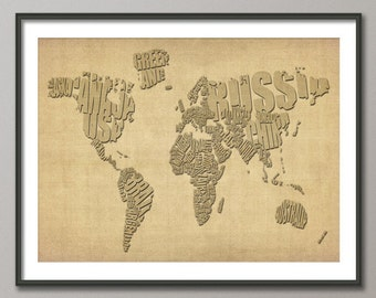 Typographic Text Map of the World, Art Print (293)