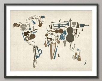 Music Instruments Map of the World Map, Art Print (459)