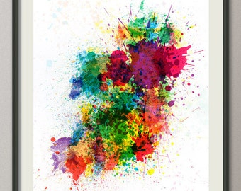 Ireland Map Paint Splashes, Art Print (514)