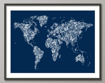 Butterflies Map of the World Map, Art Print (515) - custom colors