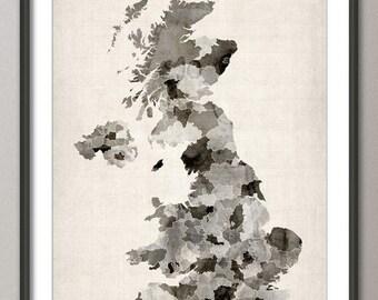 Great Britain UK Watercolor Map, Art Print (575)